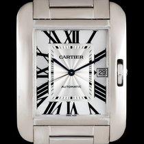 Cartier 18k W/G Silver Flinque Roman Dial Tank Anglaise XL...