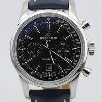 Breitling Transocean 38 Chronograph A41310 Black Dial On Blue...