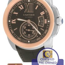 Cartier Calibre W7100051 Chocolate 42mm Two Tone Pink Gold Watch