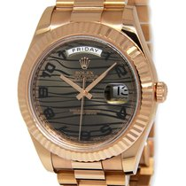 Rolex Mens Day-Date II President 18k Everose Gold Bronze Wave...