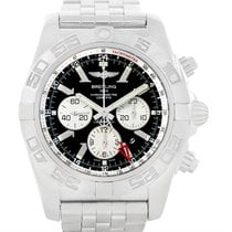 Breitling Chronomat Gmt Steel Black Dial Mens Watch Ab0410 Box...