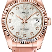 Rolex Datejust 36mm Everose Gold 116135 Jubilee Silver Diamond