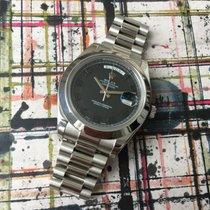 Rolex Day-Date II 41mm 218206  Platinum Black Dial Box &...