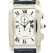 Cartier Polished Cartier Tank American Chronoflex 18k White...