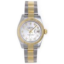 Rolex Datejust Ladies 2-Tone Diamond Watch Mother of Pearl...