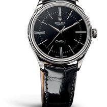 Rolex CELLINI TIME white gold black dial