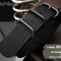 MiLTAT 22mm 3D Black Woven ZULU Band PVD