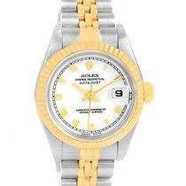 Rolex Datejust Steel 18k Yellow Gold Ladies Watch 69173 Box...