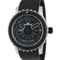 Fortis B-47 Big Black Auto Wr 200m Glass Dial Black Rubber...