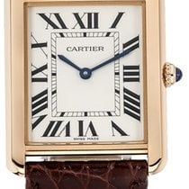 Cartier Tank Solo Silver Dial 18K Pink Gold Brown Leather...