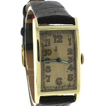 Concord Antique Art Deco 14K Yellow Gold Black Leather Watch
