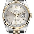 Rolex Datejust Silver Index Steel & Yellow Gold