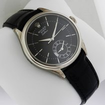Rolex Cellini Dual Time 39mm Mens Watch WHITE GOLD 50529 Black...