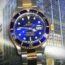 Rolex Submariner Date 18k Yellow Gold/Steel Blue Mens 40mm...