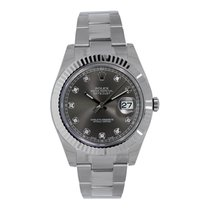 Rolex Datejust II 41mm 18K White Gold Bezel Dark Diamond Dial