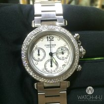 Cartier Pasha 2412 Chronograph Diamond bezel Cream Dial Steel
