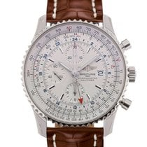 Breitling Navitimer World 46 Chronograph Silver Dial Brown...