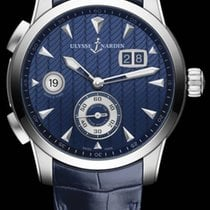 Ulysse Nardin CLASSIC DUAL TIME Steel Case Dial Blue Leather...