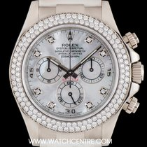 Rolex 18k White Gold MOP Dial Diamond Bezel Daytona B&P...