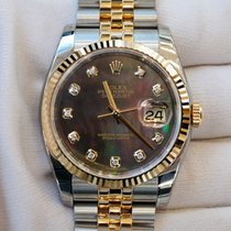 Rolex Datejust 36mm black mother of pearl dial in stainless...