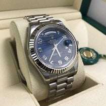 Rolex DAY-DATE II 41mm 18K White Gold Blue Wave Dial Box/Pap