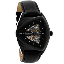 Stuhrling Ricochet Mens Black Leather Strap Automatic Watch...