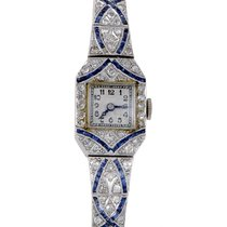 Certified Pre-Owned Womens Art Deco Platinum Diamond and...