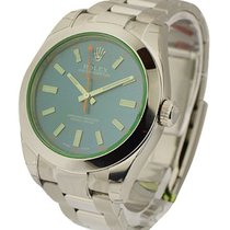 Rolex Used Milgauss Green Crystal with Blue Dial