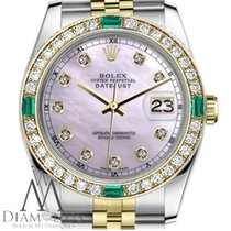 Rolex Ladies Rolex 26mm Datejust 2 Tone Pink Mop Dial With...