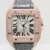 Cartier Santos 100 XL 18k Rose Gold FULL DIAMONDS/ICED...