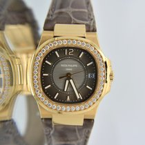 Patek Philippe Rose Gold Nautilus Ladies Factory Diamonds Box...