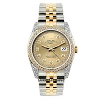 Rolex Date Unisex 34mm Champagne Dial Stainless Steel And Gold...