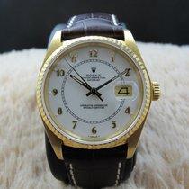 Rolex DATEJUST 16018 18K YG Original White Enamel Arabic Dial