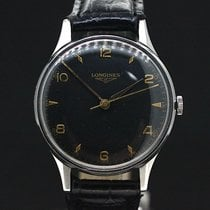 浪琴 (Longines) Black Dial Gold Indexes Handaufzug Super Zustand...