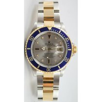 Rolex Submariner 16613 Steel & 18K Gold Slate Serti...