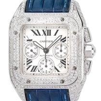 Cartier Santos 100 XL Chronograph Diamond Set Watch Blue...