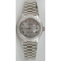 Rolex Presidential 69179 Lady's 18K White Gold Silver...
