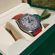 Rolex Paved Datejust - Red Leather Strap