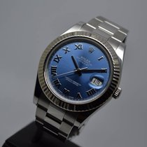 Rolex Datejust II 18K WG Fluted Bezel Full Set Blue Roman