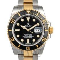 롤렉스 (Rolex) Submariner Black Dial Gold/Steel Ceramic Bezel -...