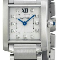 Cartier WE110006 Tank Francaise Silver Dial 11 Diamonds Women...