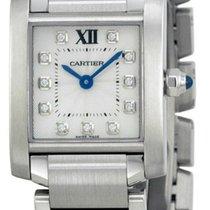 Cartier WE110006 Tank Francaise Silver Dial 11 Diamonds Women...