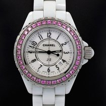 Chanel J12 White Ceramic 33mm Factory Pink Sapphire Bezel...