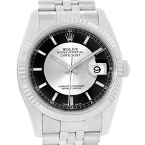 Rolex Datejust Steel 18k White Gold Tuxedo Dial Watch 116234