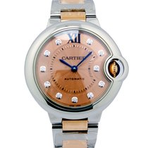 Cartier W3BB0002 Ballon Bleu Pink Gold Diamonds Women Two...