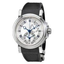 Breguet Marine Dual Time Silver Dial Black Rubber Watch