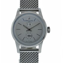 Breitling Transocean Big Date 38mm Stainless Steel Silver Dial...