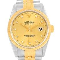 Rolex Datejust Steel 18k Yellow Gold Diamond Unisex Watch 16233
