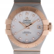 Omega Constellation Co-Axial Stahl 18kt Roségold Diamond...