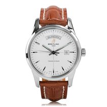 Breitling Transocean Day And Date Silver Dial Mens Watch...
